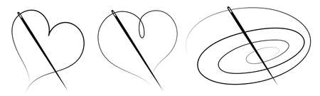 Set of three silhouettes of a needle and thread - vector illustration 向量圖像