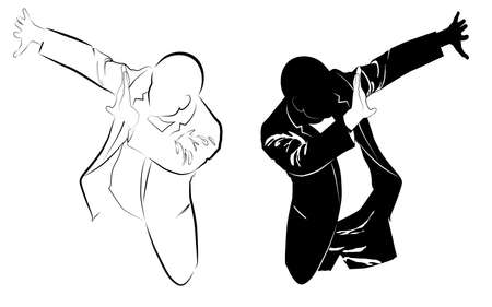 Silhouette of a man in a business suit defends himself with his hands from a threat vector illustration