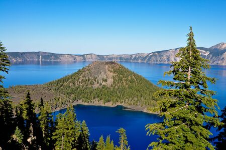 Wizard Island in Crater Lake, Oregons beautiful National Park.