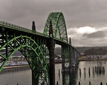 Located in Newport, Oregon, is one the most recognizable bridges on U S route 101 Stock Photo