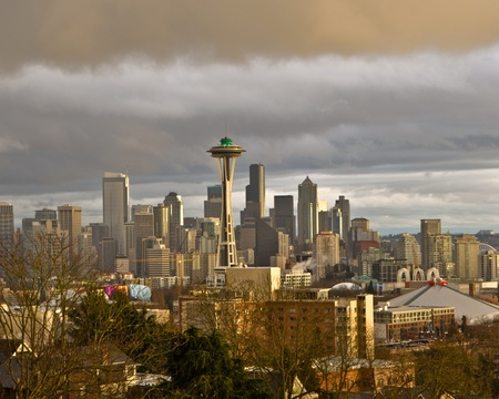 Light rain and some sunshine over Seattle Stock Photo