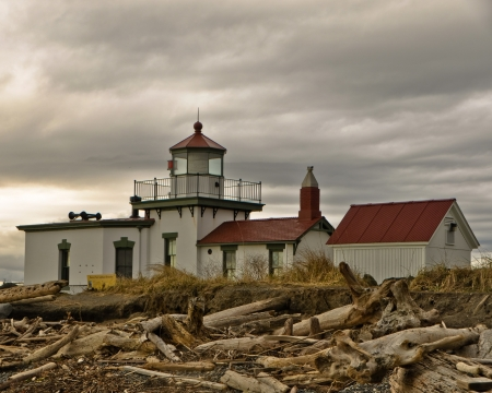 The westpoint Lighthouse in Discovery Park, Seattle Washington
