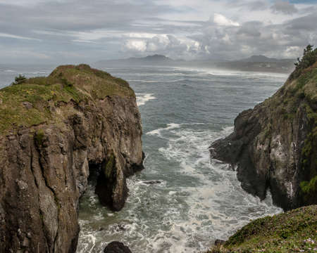 The rugged coast line of Newport, Ore Stock Photo