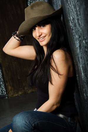 smile woman in a hat Stock Photo - 8550489
