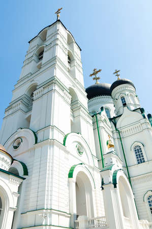 grecian: big tall white orthodox temple with cross on top. Grecian style. Cathedral church Stock Photo