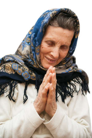 old age praying woman on white background
