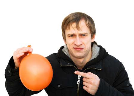 poner atencion: joven insatisfecha mantenga un globo y se dio cuenta de que se sople la atenci�n insatisfecha de pago frente a SMB