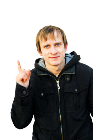 young man shows attention sign  one finger upwards Stock Photo - 13498916