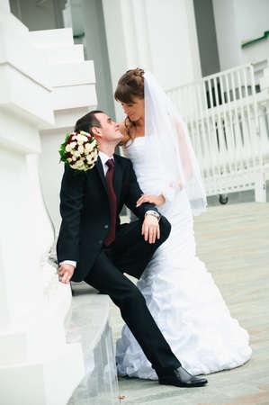 happy groom and bride  Love tenderness feeling of wedding couple