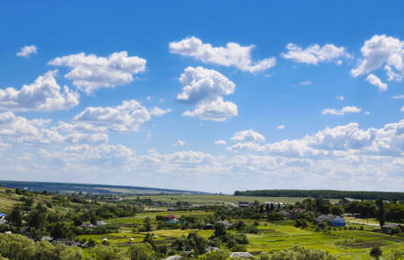beauty view of nature. Rural village and blue sky