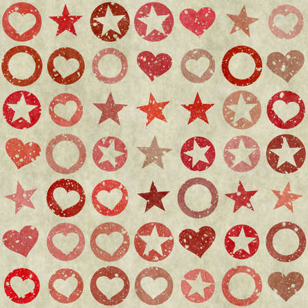 many shapes of heart, stars and circle on grunge backgrounds photo