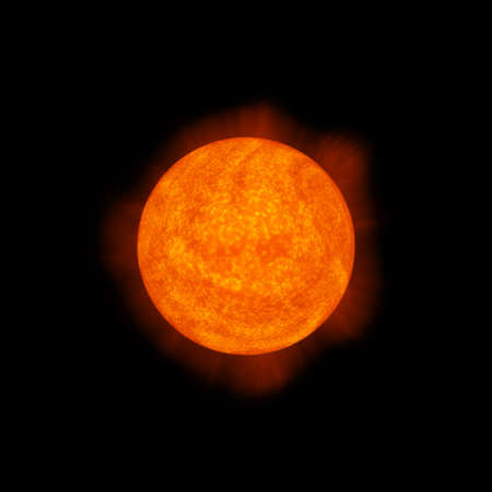 light emission: bright hot round planet on a dark backgrounds Stock Photo