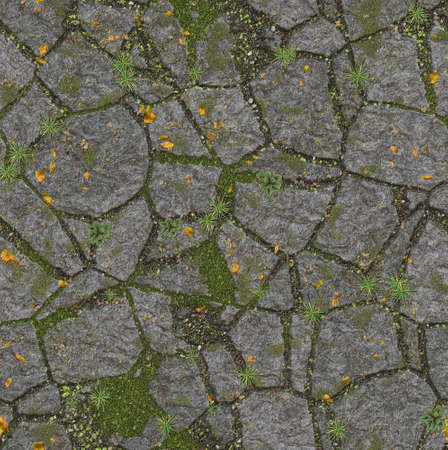cleft: landscape design from stones in grass. wallpapers pattern Stock Photo