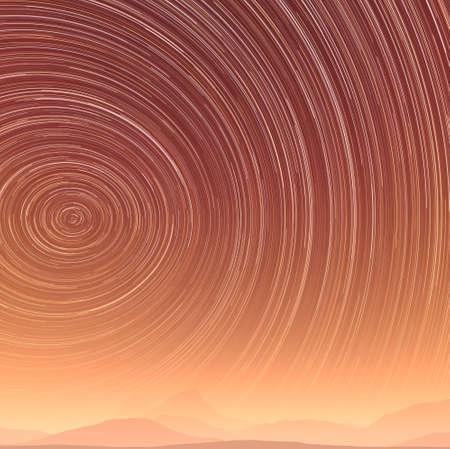 砂漠の夜の間に美しいスター トレイル イメージ 写真素材