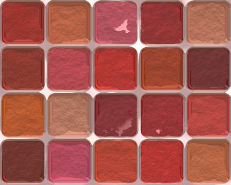 rouge: many different rouge pattern. make-up objects Stock Photo