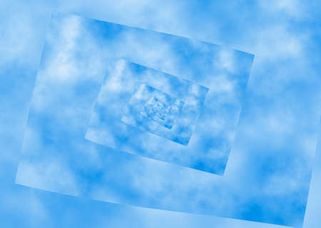 perversion: curled spiral perspective of blue sky. distortion pattern Stock Photo