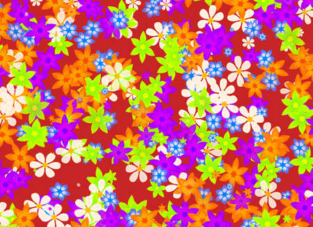 expanded: many different multicolored open flowers background