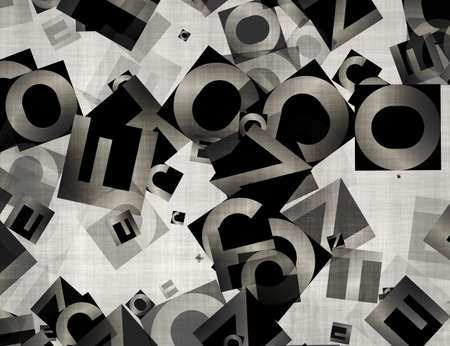 pile of newspapers: heap of abstract chaotic alphabet letters  Stock Photo