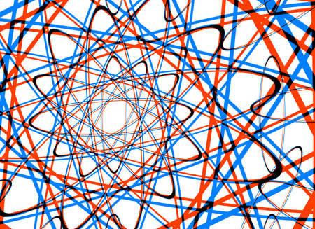 labyrinthine: many abstract coloured curled lines on science pattern
