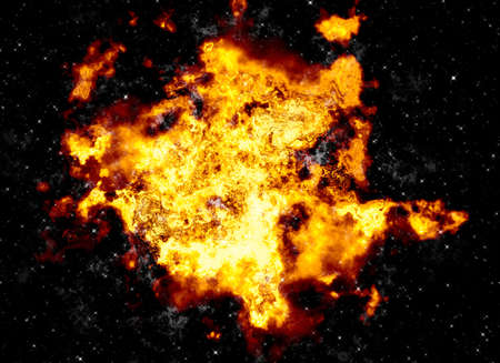 irradiate: bright explosion flash on a black fire burst