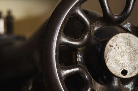 manufactory: part off old metal sewing machine  Stock Photo