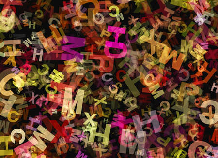 chaotical: heap of abstract chaotic multicolored alphabet letters