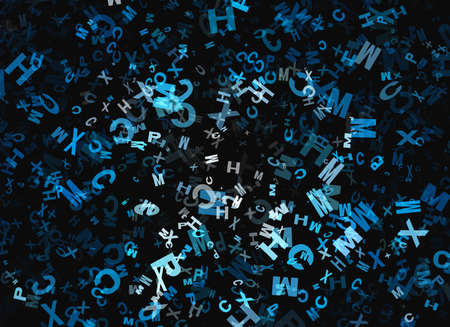 chaotical: heap of abstract flying chaotic alphabet letters Stock Photo