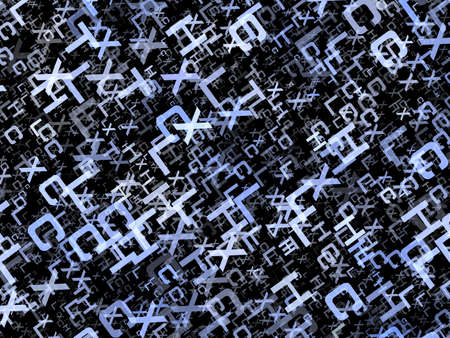 chaotical: heap of abstract flying alphabet letters