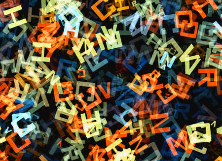 chaotical: heap of abstract multicolored flying alphabet letters Stock Photo