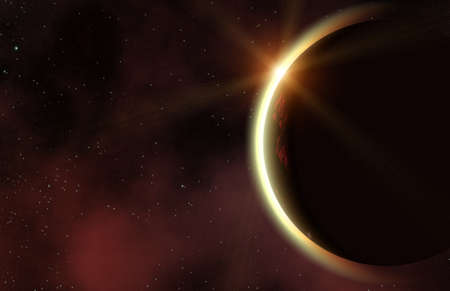 irradiate: eclipse of red planet in a space stars backgrounds