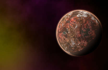 weightlessness: red planet on cosmos stars backgrounds