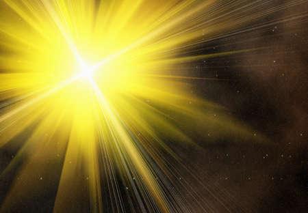 空間上の黄色い閃光星の背景