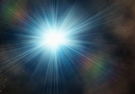 irradiate: blue flash on a space stars backgrounds
