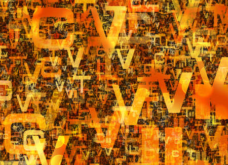 inverse: heap of abstract chaotic orange alphabet letters