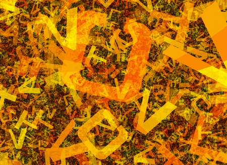 chaotical: many abstract chaotic orange alphabet letters