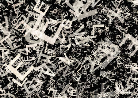 text space: many abstract chaotic grey alphabet letters