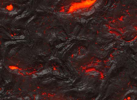 火山噴火の凝固の熱い溶岩のテクスチャ
