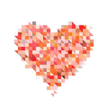 pixelate: red heart from pixel particle on white backgrounds
