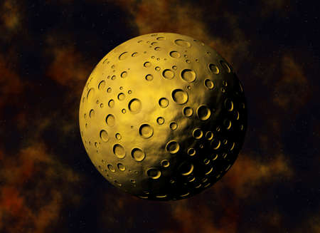 weightlessness: yellow big meteorite with craters on a space backgrounds