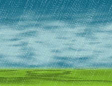 rain storm backgrounds in cloudy weather with green grass Standard-Bild