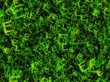 pile of newspapers: chaotic flying of many abstract green alphabet letters