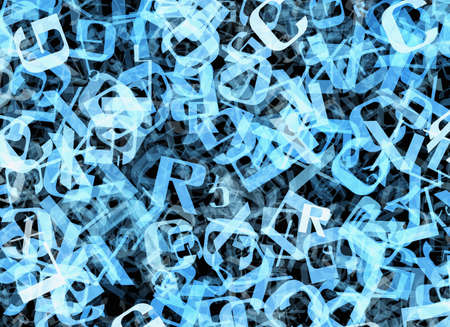 pile of newspapers: chaotic flying of many abstract blue alphabet letters Stock Photo