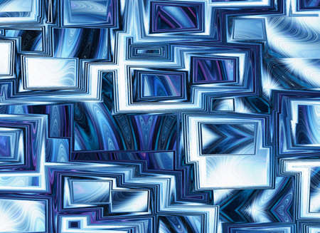 a window on the world: dreamy world of view through abstract blue window frames