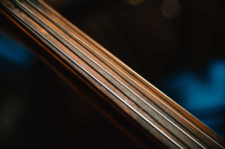 fretboard: fretboard of old shabby cello on a black backgrounds.