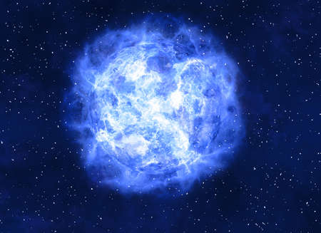 irradiate: bright blue electrical planet on a dark backgrounds