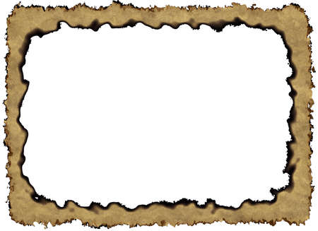 Blank Vintage Paper Frame with burnt edges on white backgrounds with clipping path Banco de Imagens
