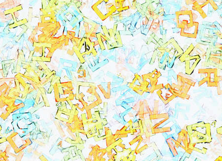pile of newspapers: picture of abstract multicolored flying alphabet letters