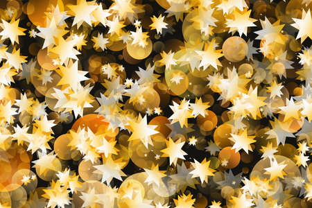 rounds: many flying gold stars and rounds bokeh backgrounds