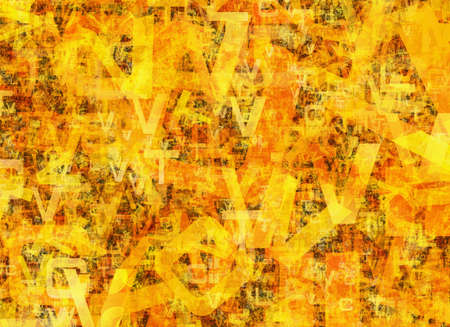 chaotic: heap of abstract chaotic orange alphabet letters