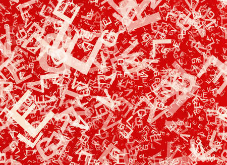 chaotical: many abstract chaotic white alphabet letters on red backgrounds